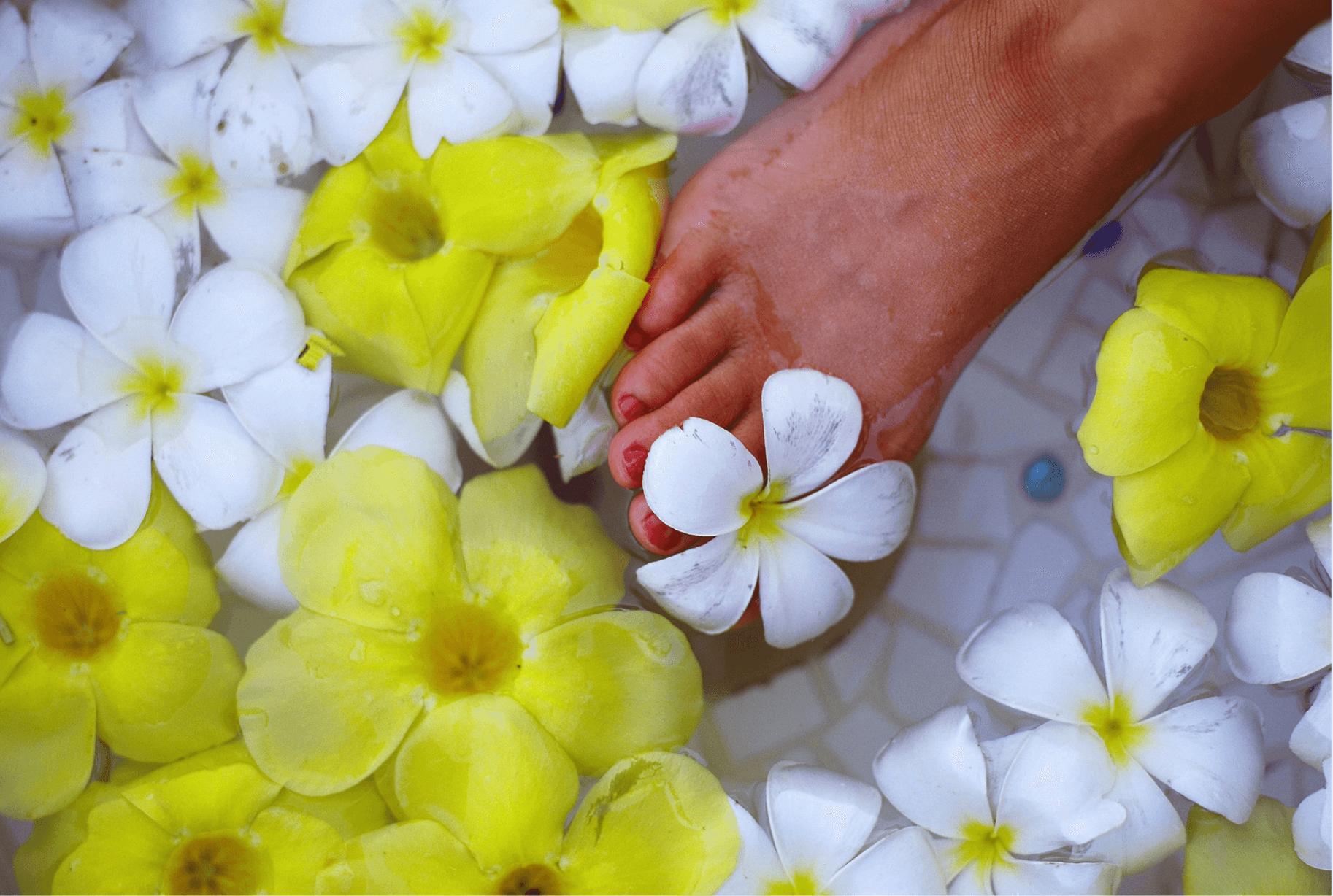 les fleurs âges - massage pieds-